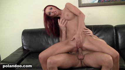 Redhead hottie fucked on the couch